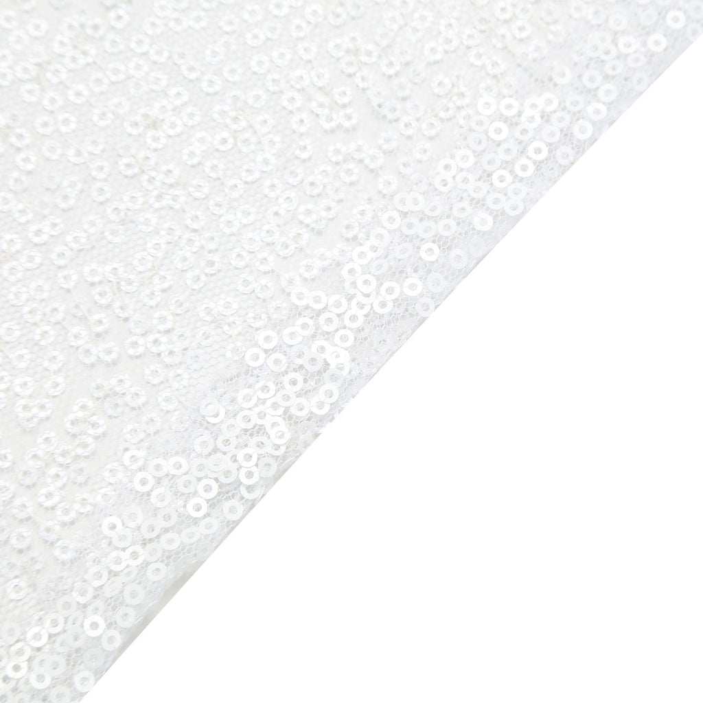 "60"" x 60"" White Duchess Sequin Square Overlay"