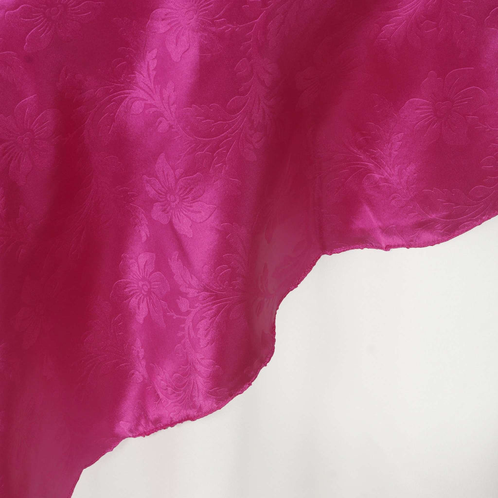 "60"" Lily Embossed SATIN Square Overlay For Wedding Catering Party Table Decorations- FUSHIA"