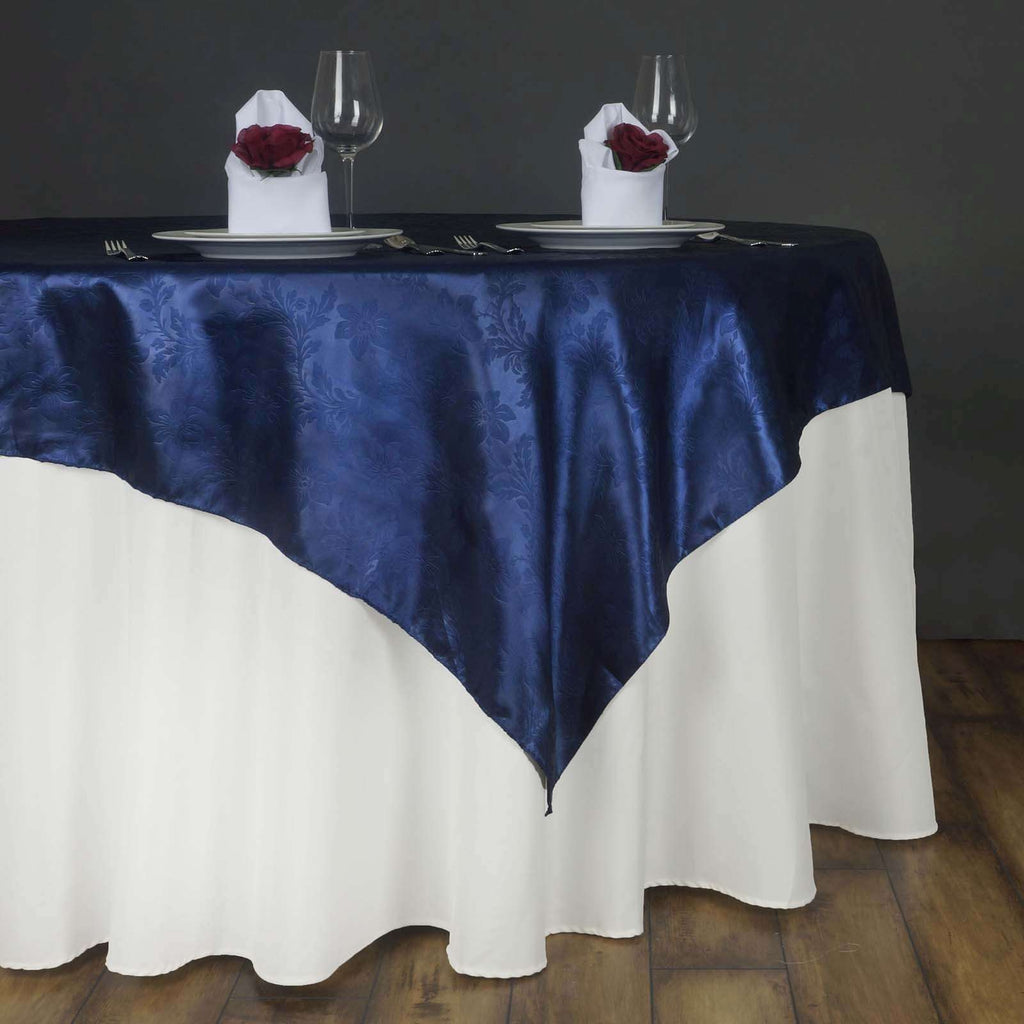 "60"" Lily Embossed SATIN Square Overlay For Wedding Catering Party Table Decorations- NAVY BLUE"