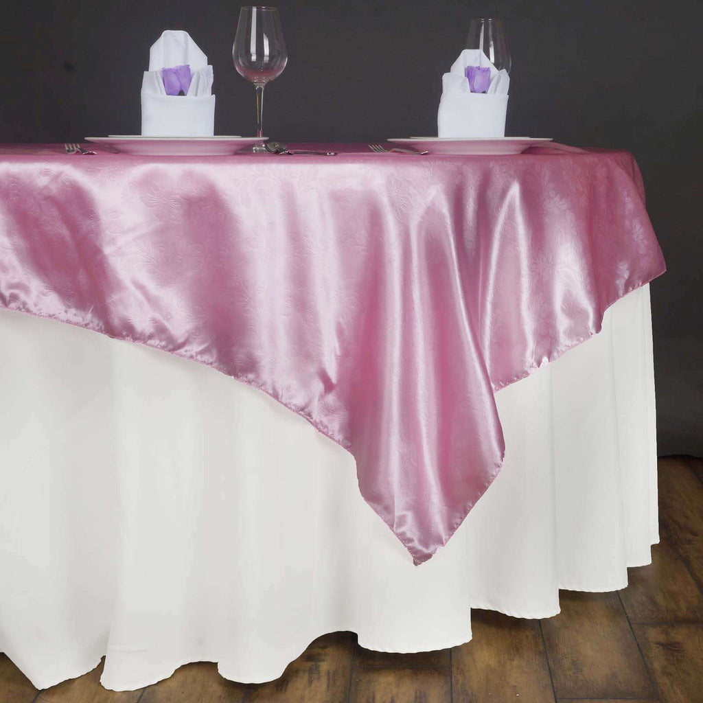 "60"" Lily Embossed SATIN Square Overlay For Wedding Catering Party Table Decorations- PINK"
