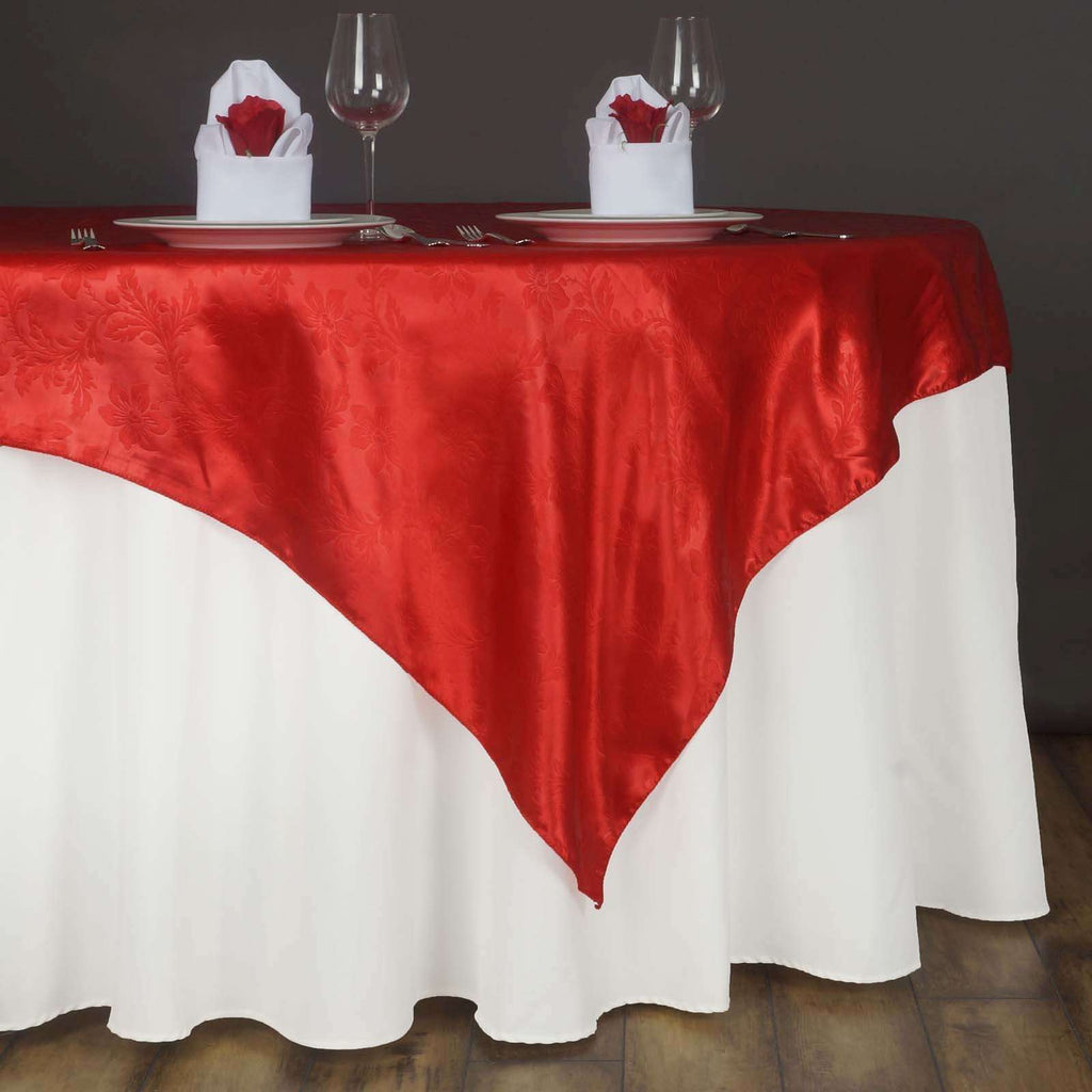 "60"" Lily Embossed SATIN Square Overlay For Wedding Catering Party Table Decorations- RED"