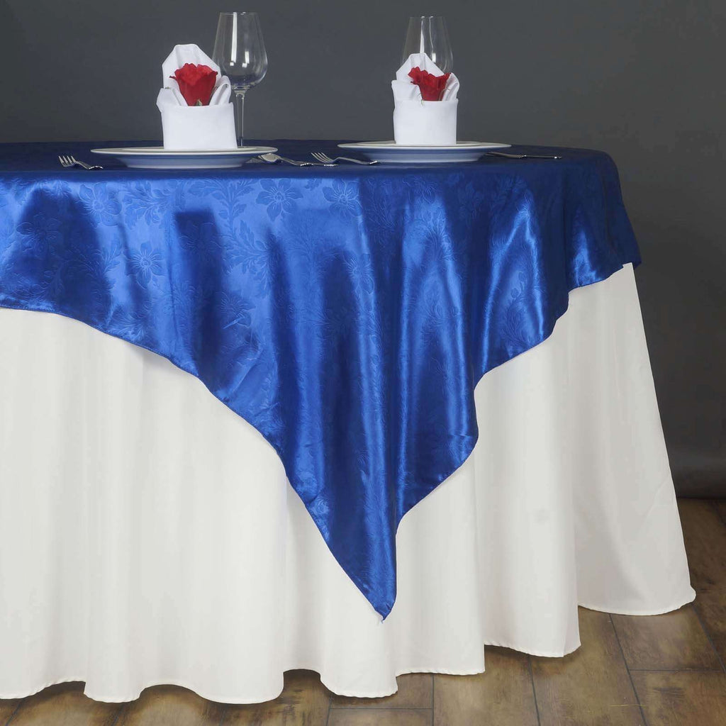 "60"" Lily Embossed SATIN Square Overlay For Wedding Catering Party Table Decorations- ROYAL BLUE"