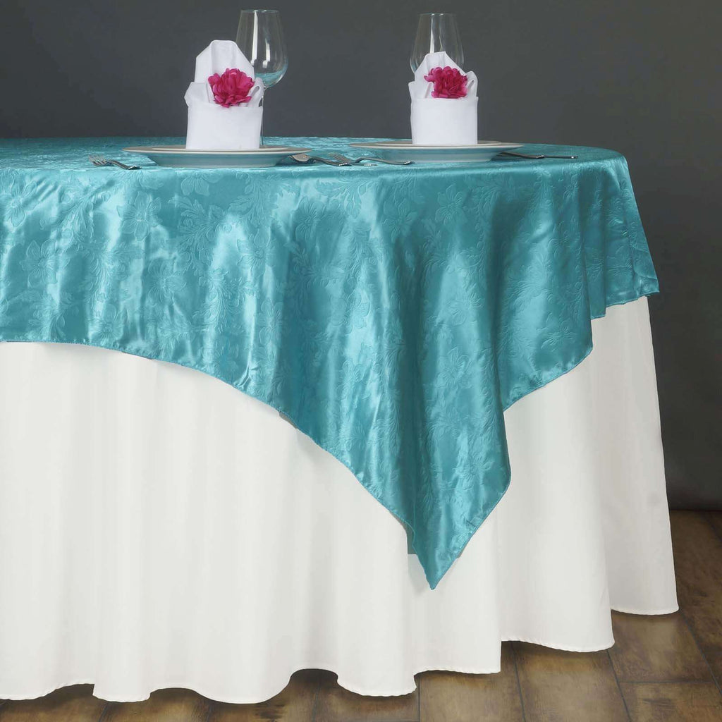 "60"" Lily Embossed SATIN Square Overlay For Wedding Catering Party Table Decorations- TURQUOISE"