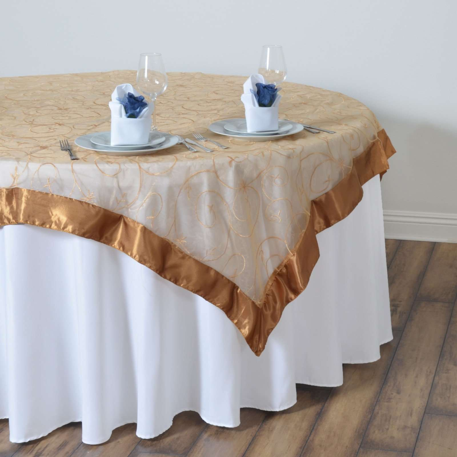 60 Gold Organza Sheer Tablecloth Overlay With Satin Edges Wedding Tab Chaircoverfactory