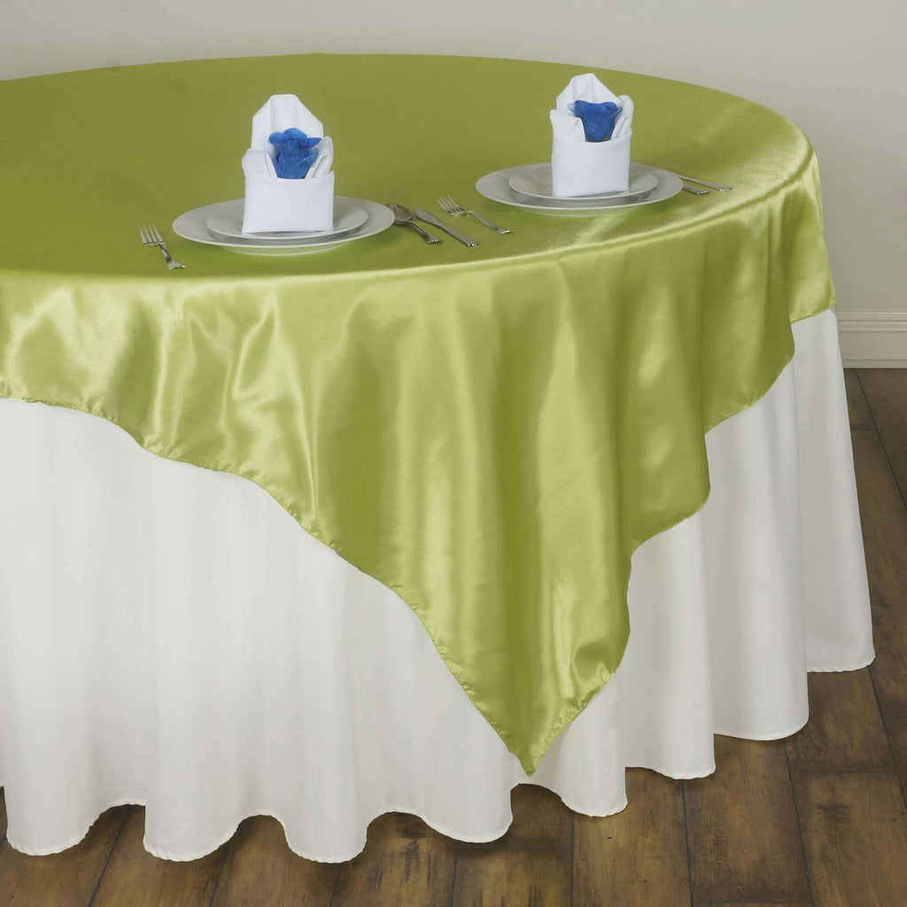"60"" Satin Square Overlay For Wedding Catering Party Table Decorations - Apple Green"