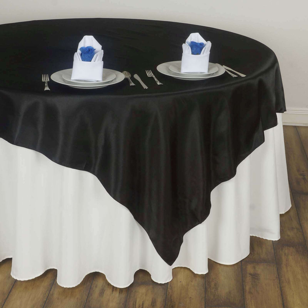 "60"" Satin Square Overlay For Wedding Catering Party Table Decorations - Black"