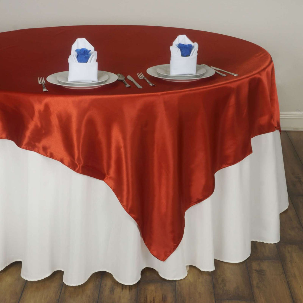 "60"" Satin Square Overlay For Wedding Catering Party Table Decorations - Burnt Orange"