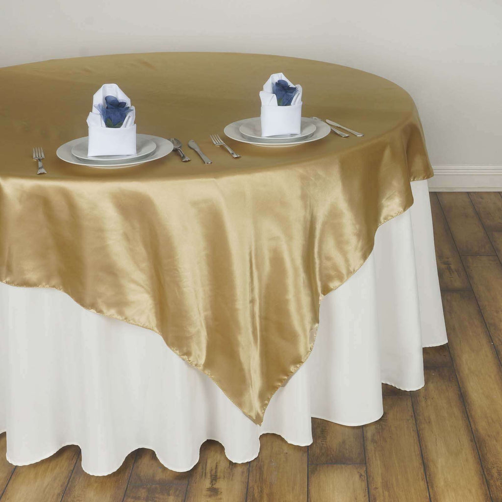 "60"" Satin Square Overlay For Wedding Catering Party Table Decorations - Champagne"