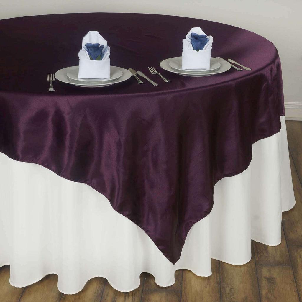 "60"" Satin Square Overlay For Wedding Catering Party Table Decorations - Eggplant"