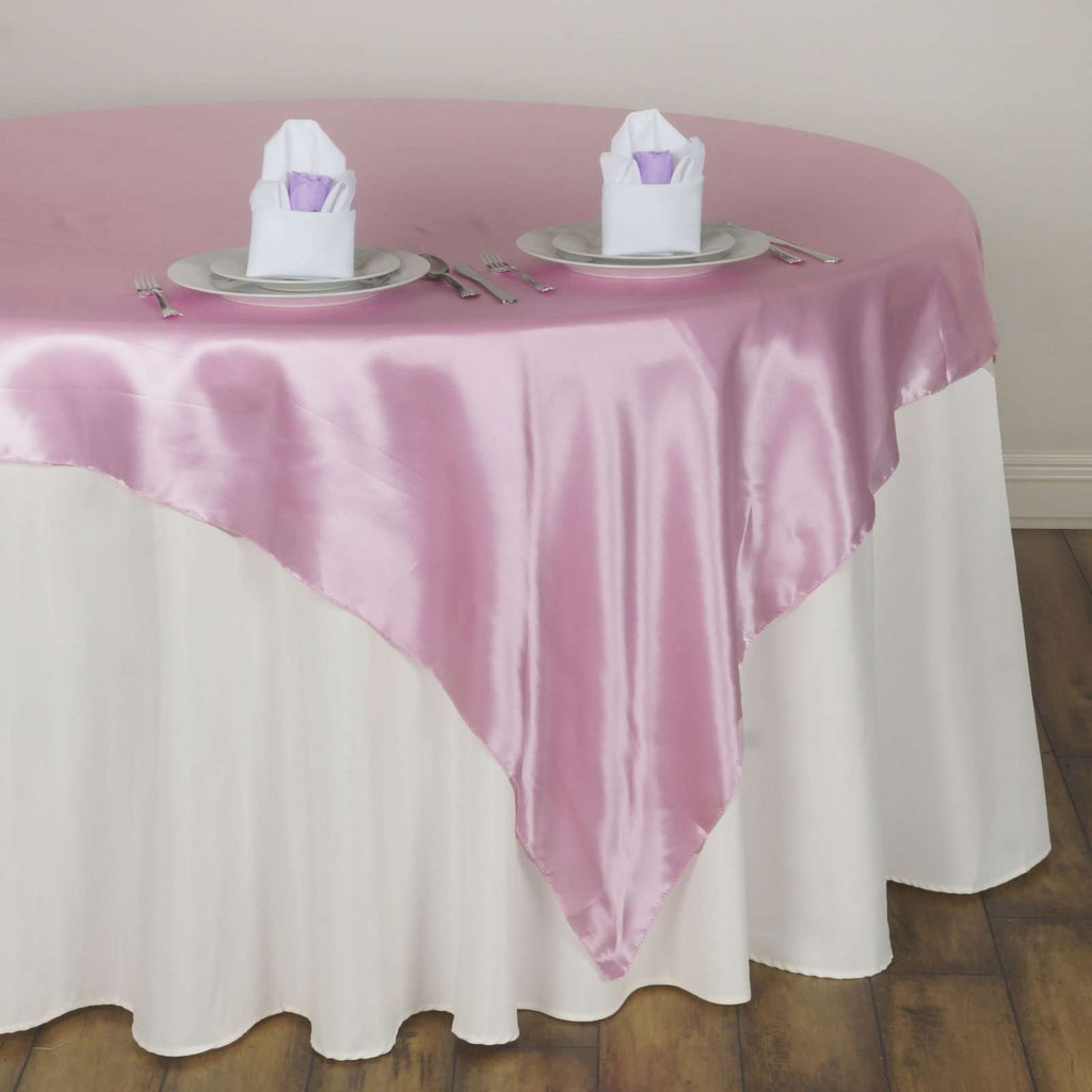"60"" Satin Square Overlay For Wedding Catering Party Table Decorations - Pink"