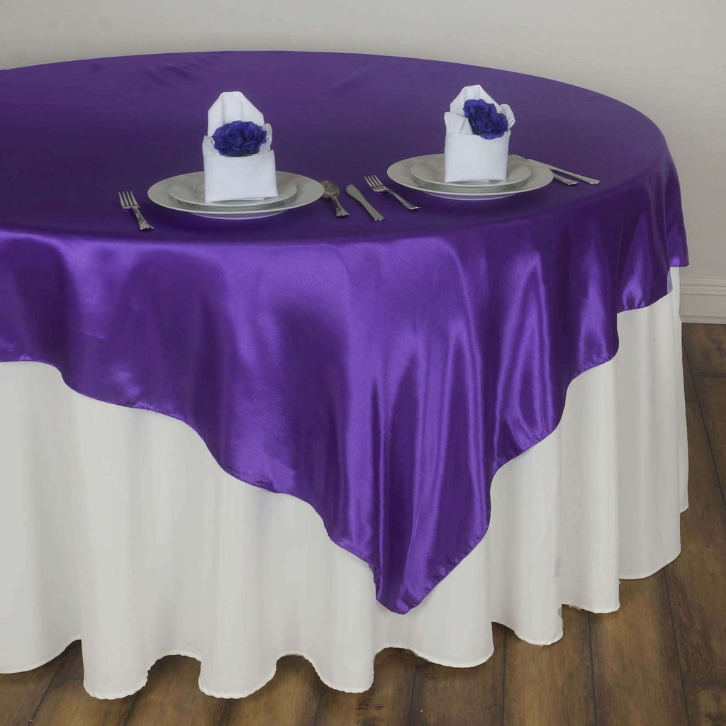 "60"" Satin Square Overlay For Wedding Catering Party Table Decorations - Purple"