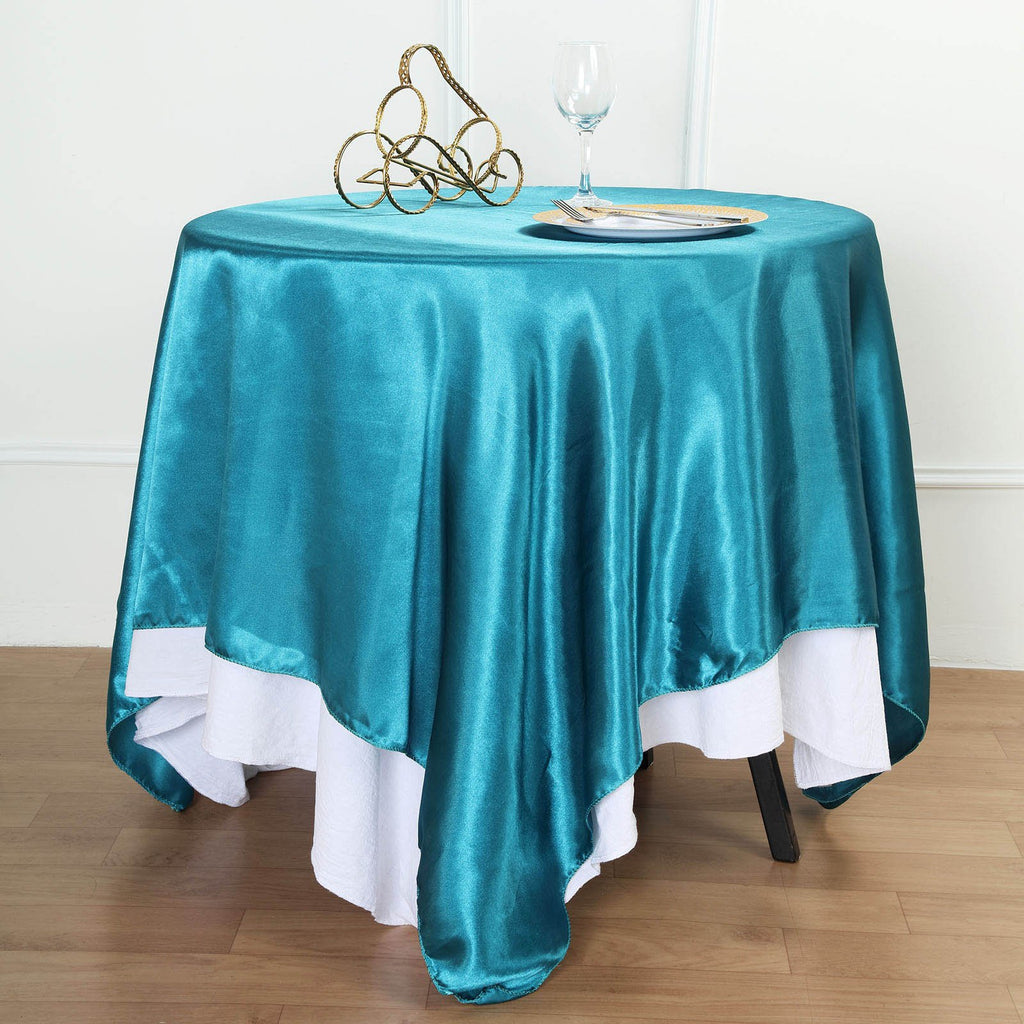 Teal Seamless Square Satin Tablecloth Overlay