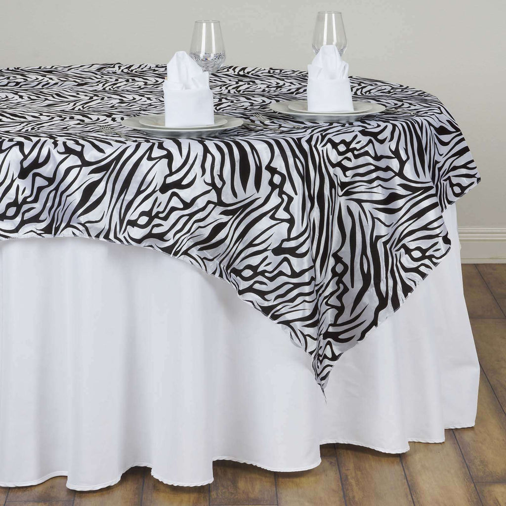 "60""x60"" Taffeta Overlay Zebra Animal Print For Wedding Party Banquet Event Restaurant - BLACK / WHITE"