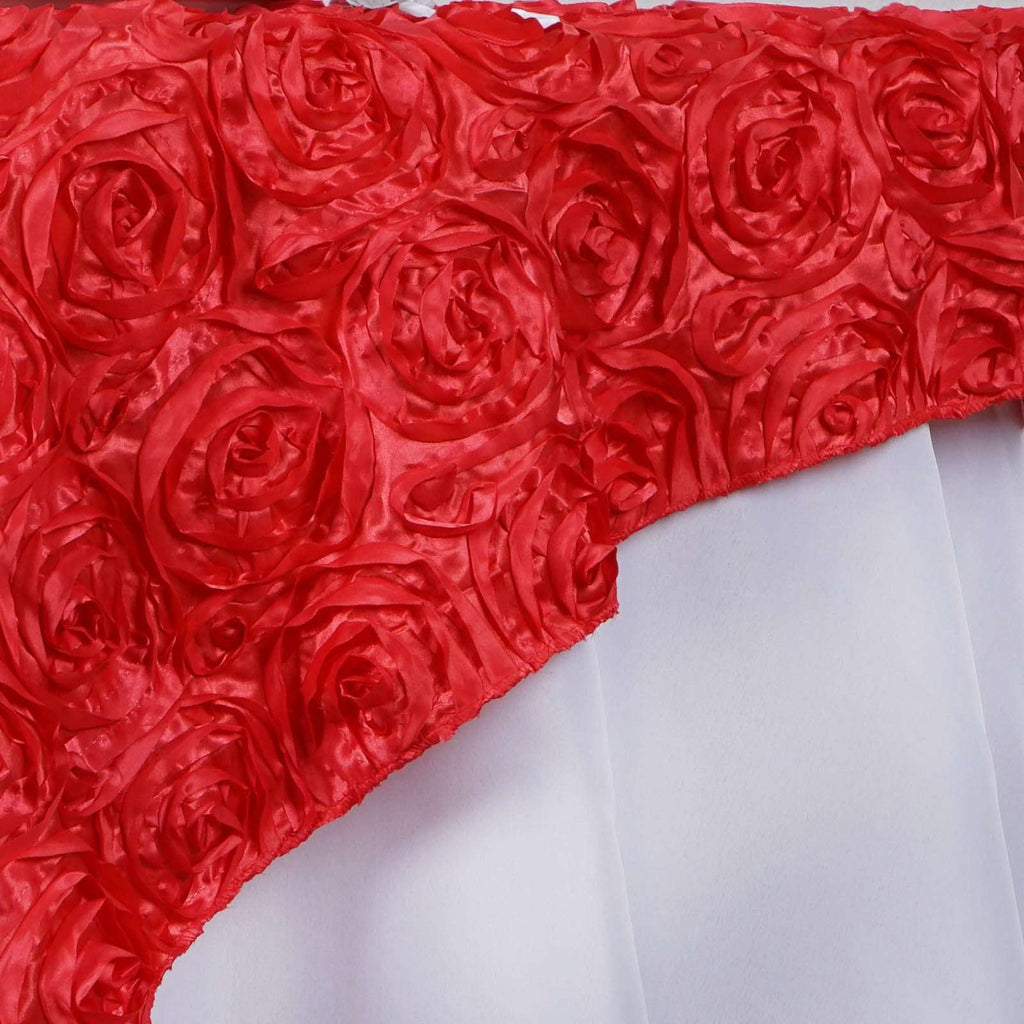 "72"" Coral 3D Rosette Satin Square Overlay For Wedding Catering Party Table Decorations"