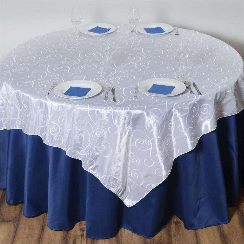 "72"" x 72"" White Satin Embroider Taffeta Square Overlay"