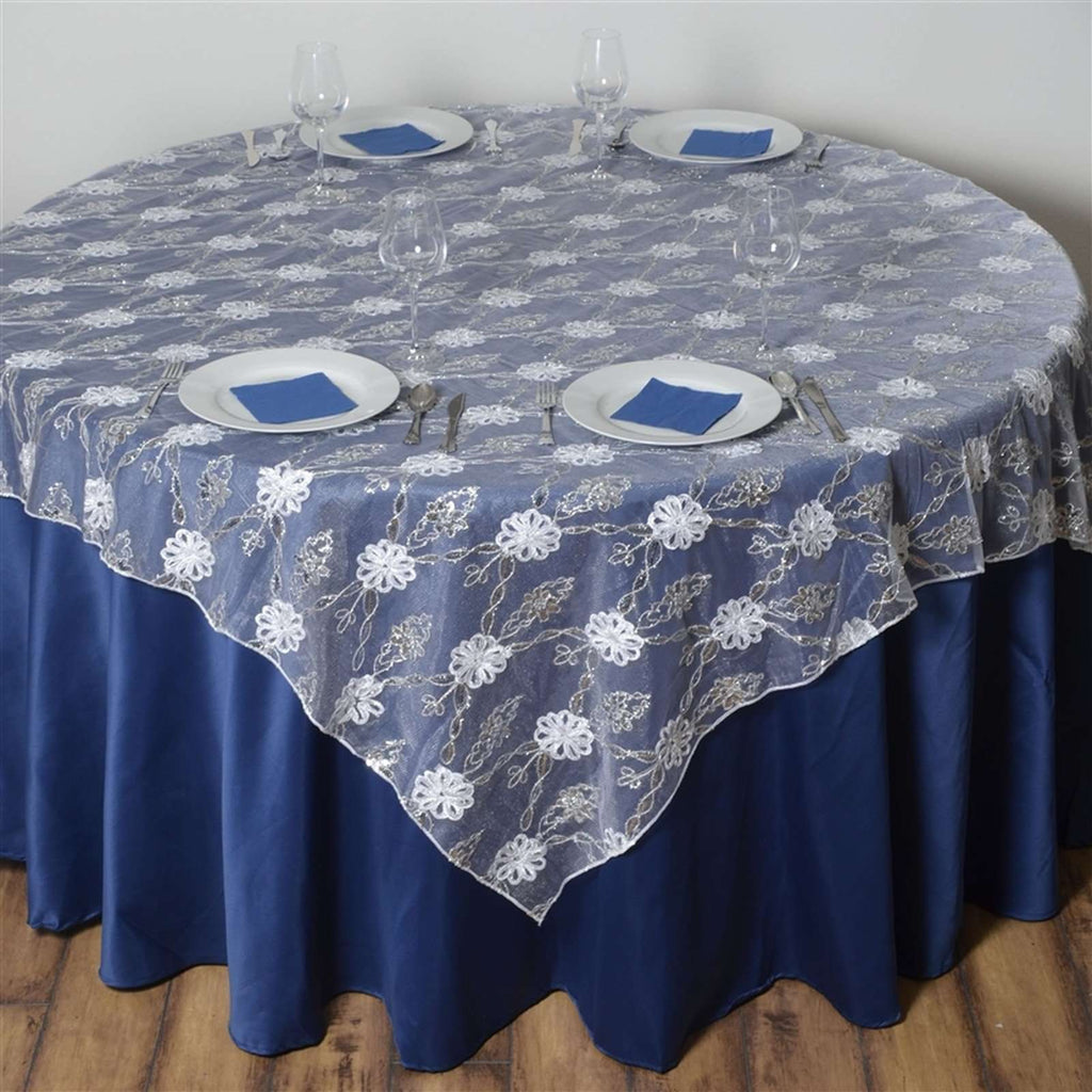 "72""x72"" Extravagant Fashionista Table Overlays - White Lace Netting"