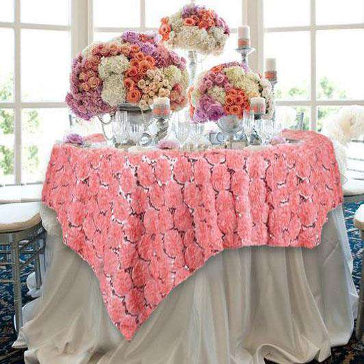 "72"" Rose Quartz Satin Blossoms and Sequins on Lace Net Square Overlay For Wedding Catering Party Table Decorations"