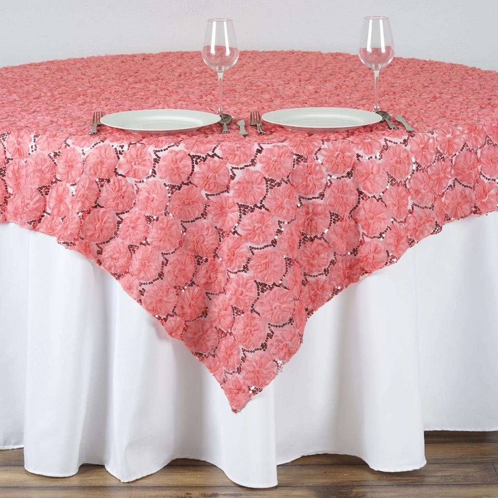 "72""x72"" Rose Quartz Lace Overlay with Sequin Design Party Wedding Table Decoration"