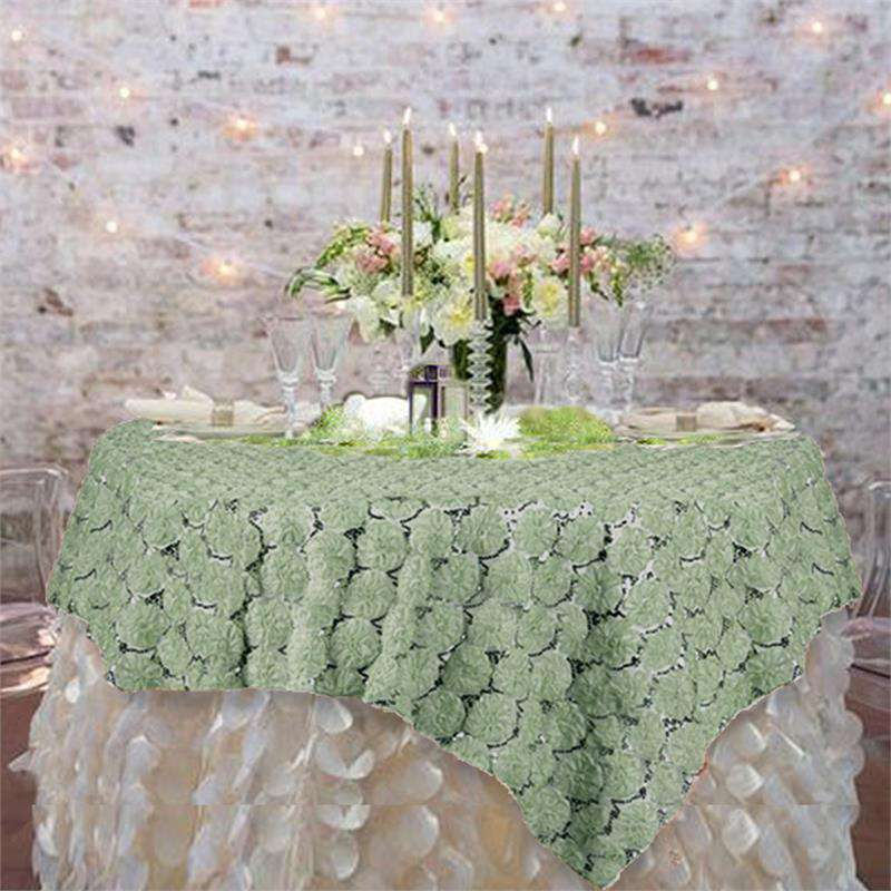 "72""x72"" Reseda Lace Overlay with Sequin Design Party Wedding Table Decoration"