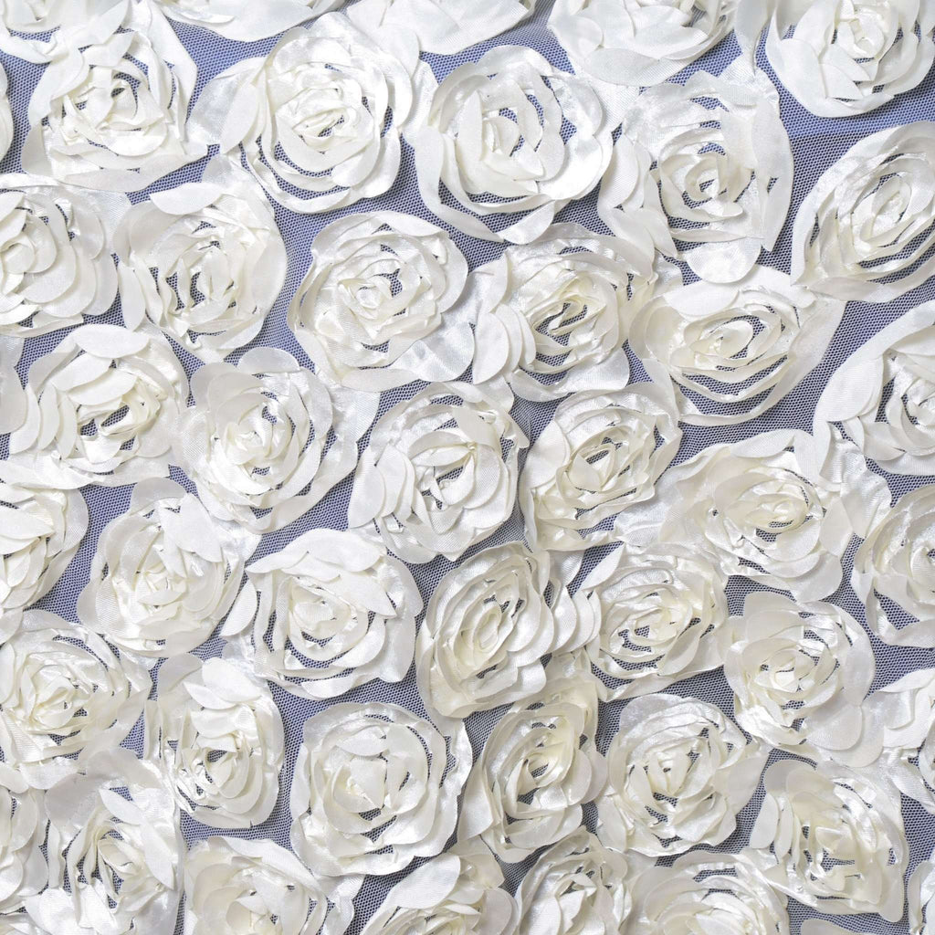 "72x72"" IVORY Lace Overlay with Rosette Flowers For Party Wedding Table Decoration"
