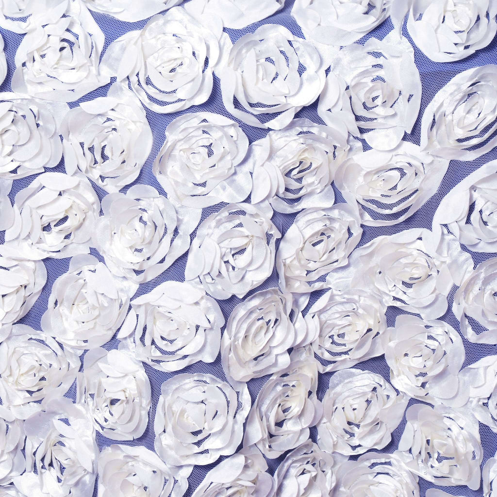 "72x72"" WHITE Lace Overlay with Rosette Flowers For Party Wedding Table Decoration"