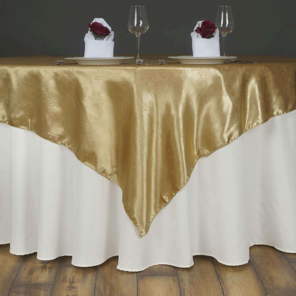 "Lily Embossed Satin Table Overlay 72"" x 72"" - Champagne"