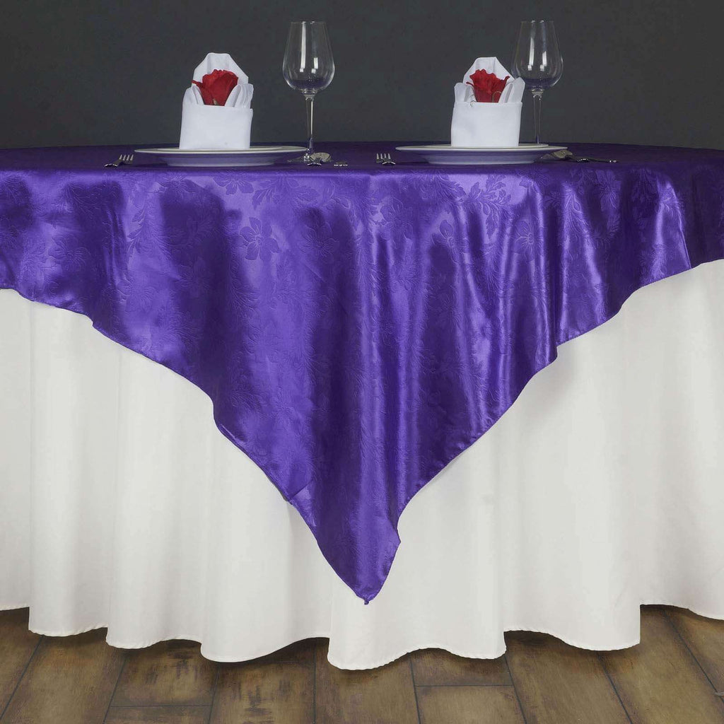 "Lily Embossed Satin Table Overlay 72"" x 72"" - Purple"