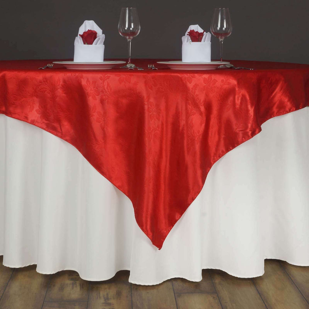 "Lily Embossed Satin Table Overlay 72"" x 72"" - Red"