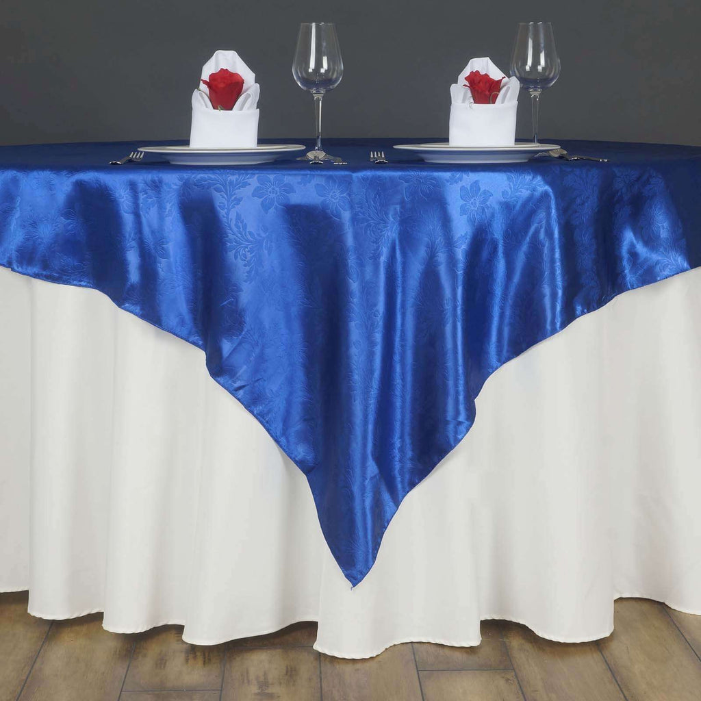 "Lily Embossed Satin Table Overlay 72"" x 72"" - Royal Blue"