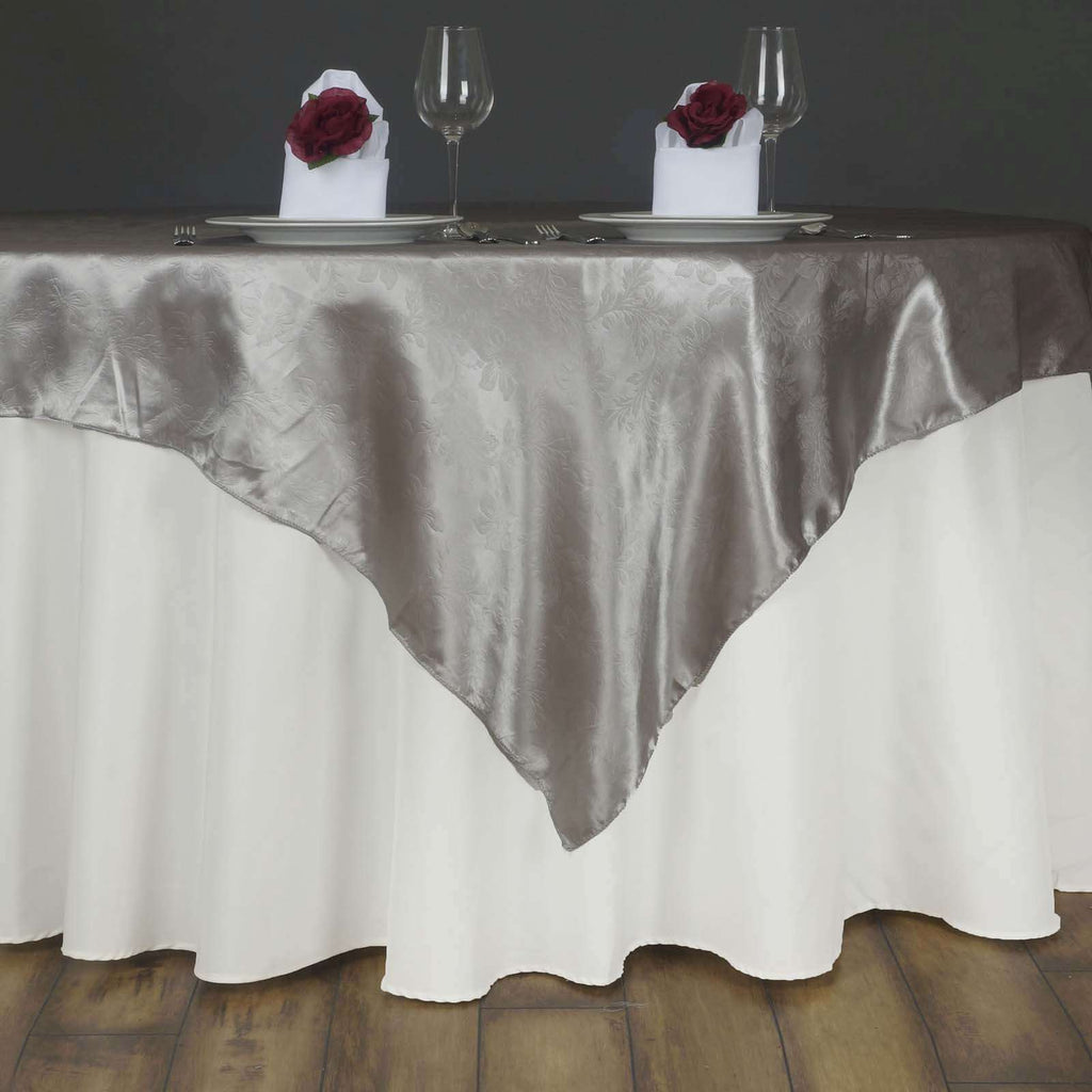 "Lily Embossed Satin Table Overlay 72"" x 72"" - Silver"