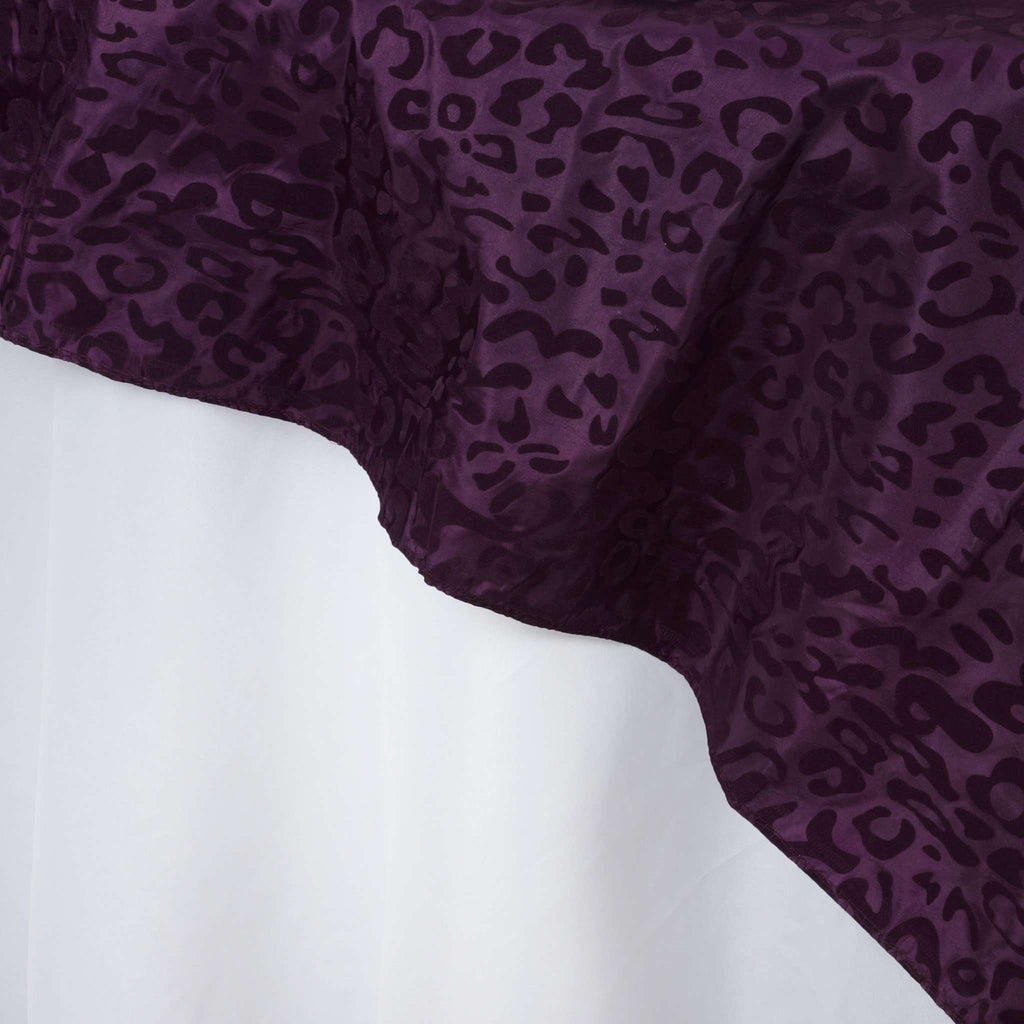 "72""x72"" Taffeta Overlay Leopard Cheetah Animal Print For Wedding Party Banquet Event Restaurant - EGGPLANT / EGGPLANT"