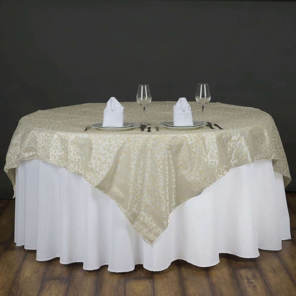"72""x72"" Taffeta Overlay Leopard Cheetah Animal Print For Wedding Party Banquet Event Restaurant - IVORY / IVORY"