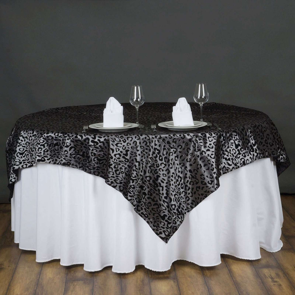 "72""x72"" Taffeta Overlay Leopard Cheetah Animal Print For Wedding Party Banquet Event Restaurant - BLACK / SILVER"