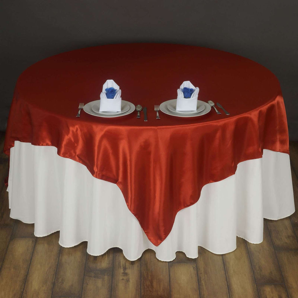 "72"" SATIN Square Overlay For Wedding Catering Party Table Decorations - BURNT ORANGE"