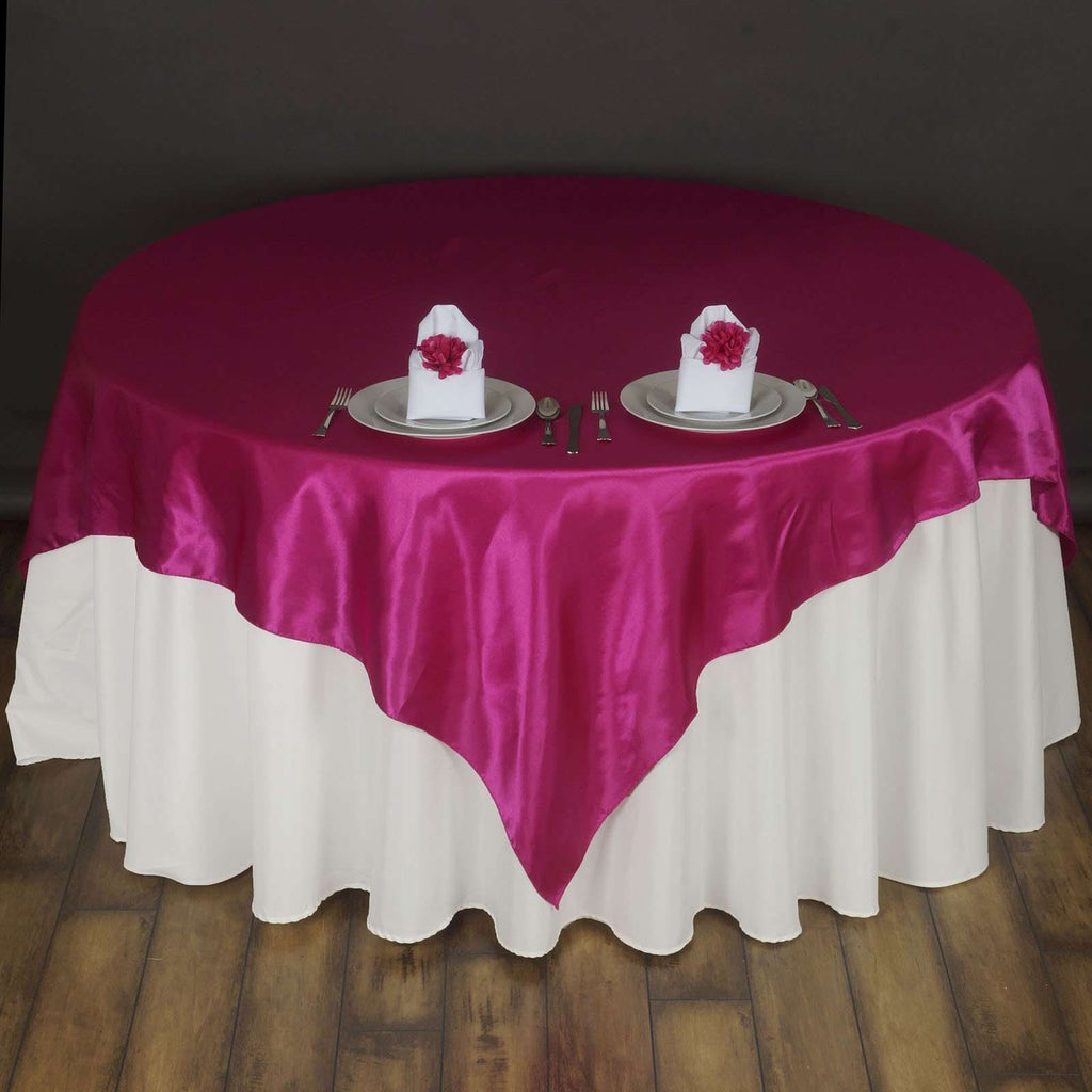 "72"" SATIN Square Overlay For Wedding Catering Party Table Decorations - FUSHIA"