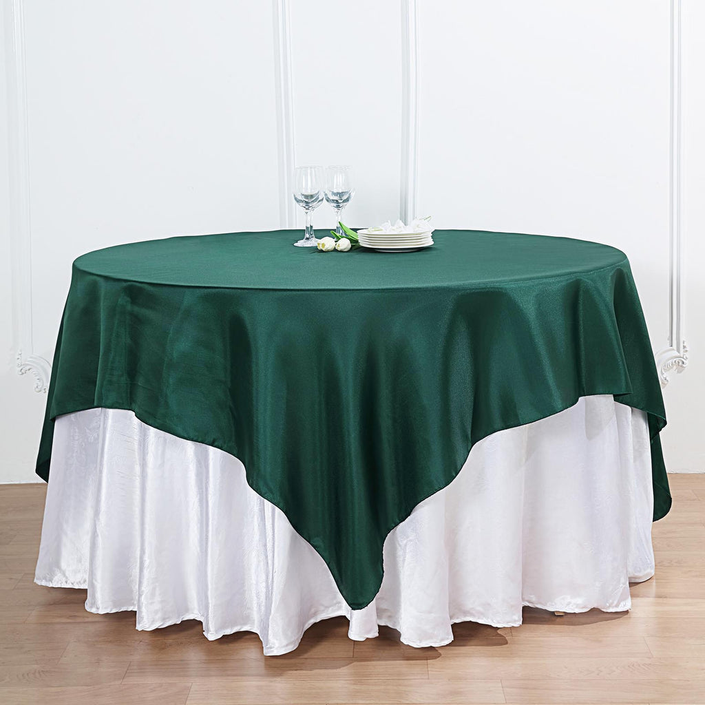 "72"" x 72"" Hunter Emerald Green Seamless Satin Square Tablecloth Overlay"