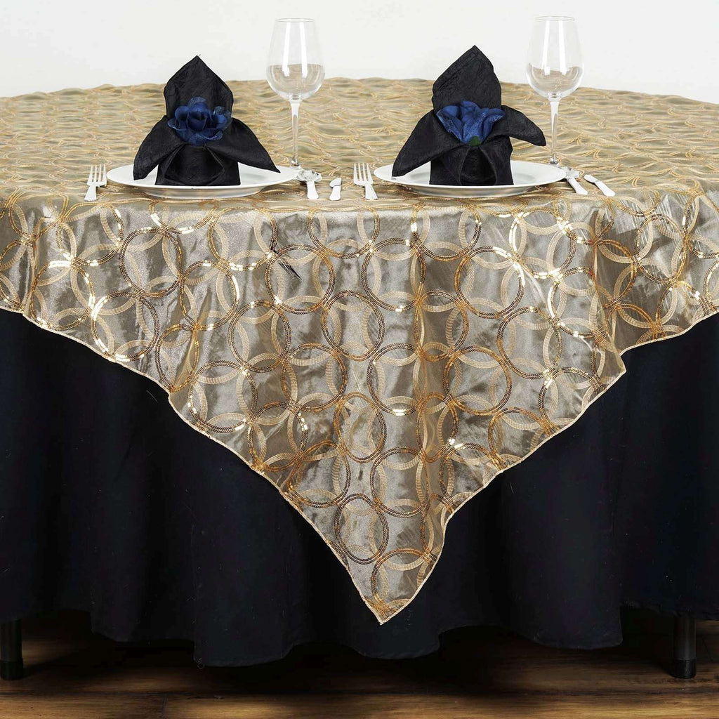 "85x85"" Wedding Gold Organza Overlay with Sequin Circle Designs for Banquet party Restaurant Table Decoration"