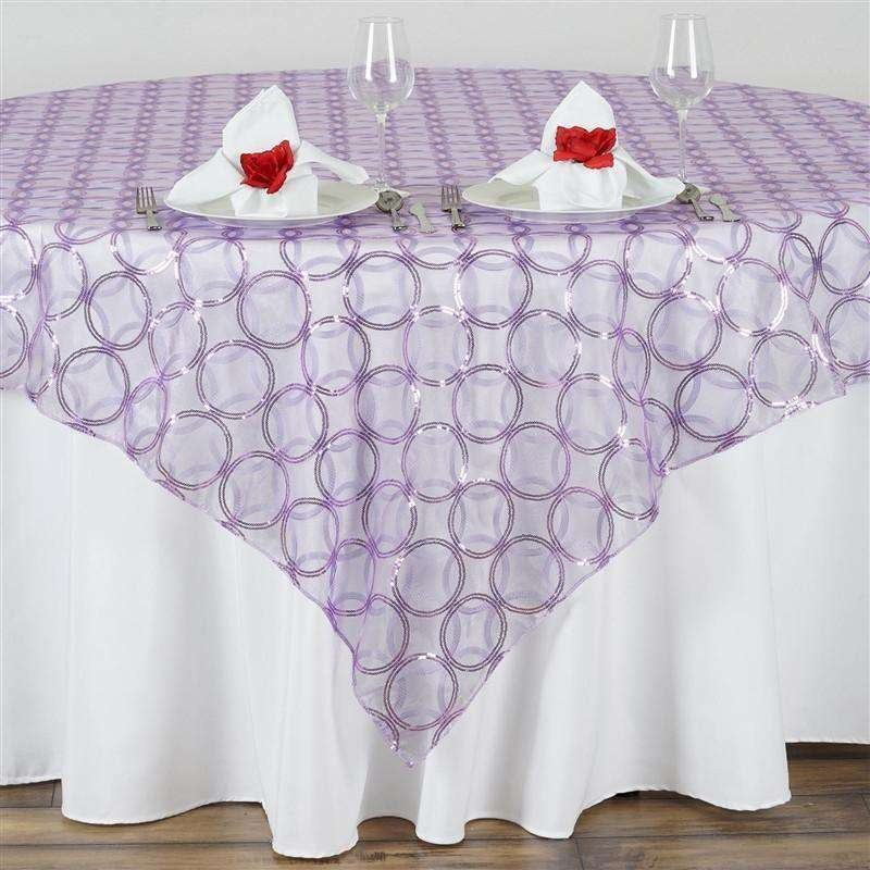 "85x85"" Wedding Lavender Organza Overlay with Sequin Circle Designs for Banquet party Restaurant Table Decoration"