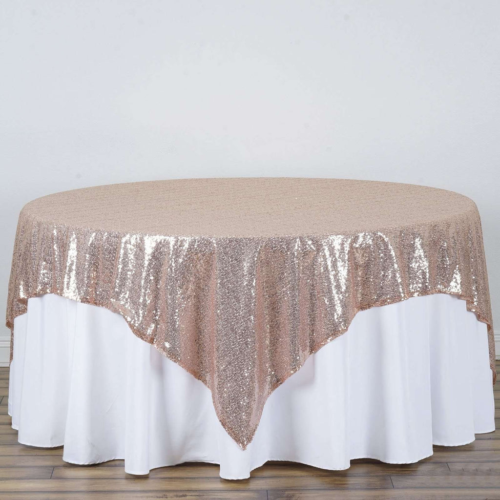 "90"" Premium Sequin Square Overlay - Rose Gold 