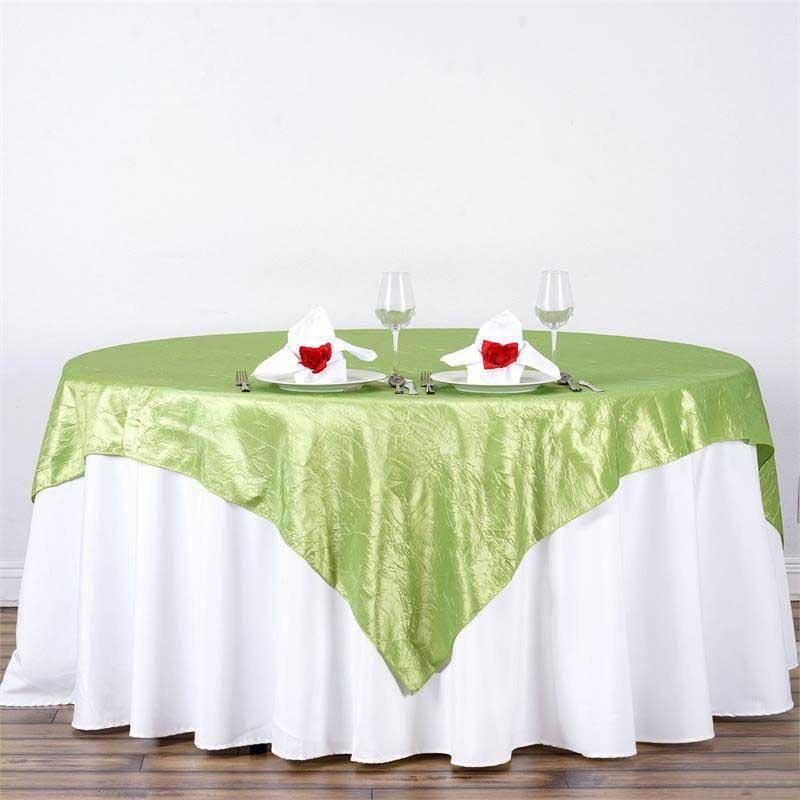 "90""x90"" Apple Green Taffeta Crinkle Square Tablecloth Overlay For Banquet Wedding Party Restaurant"
