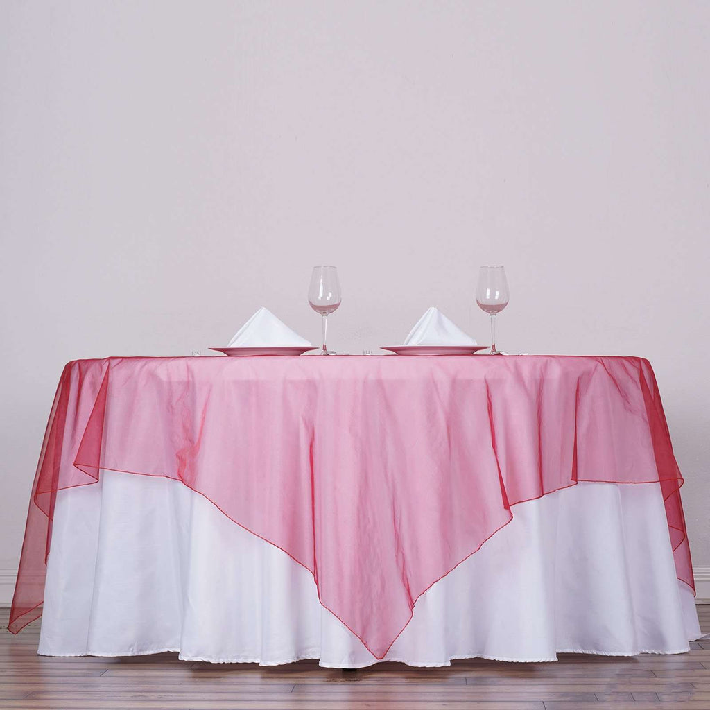 "90""x90"" Square Wine Organza Table Overlay"