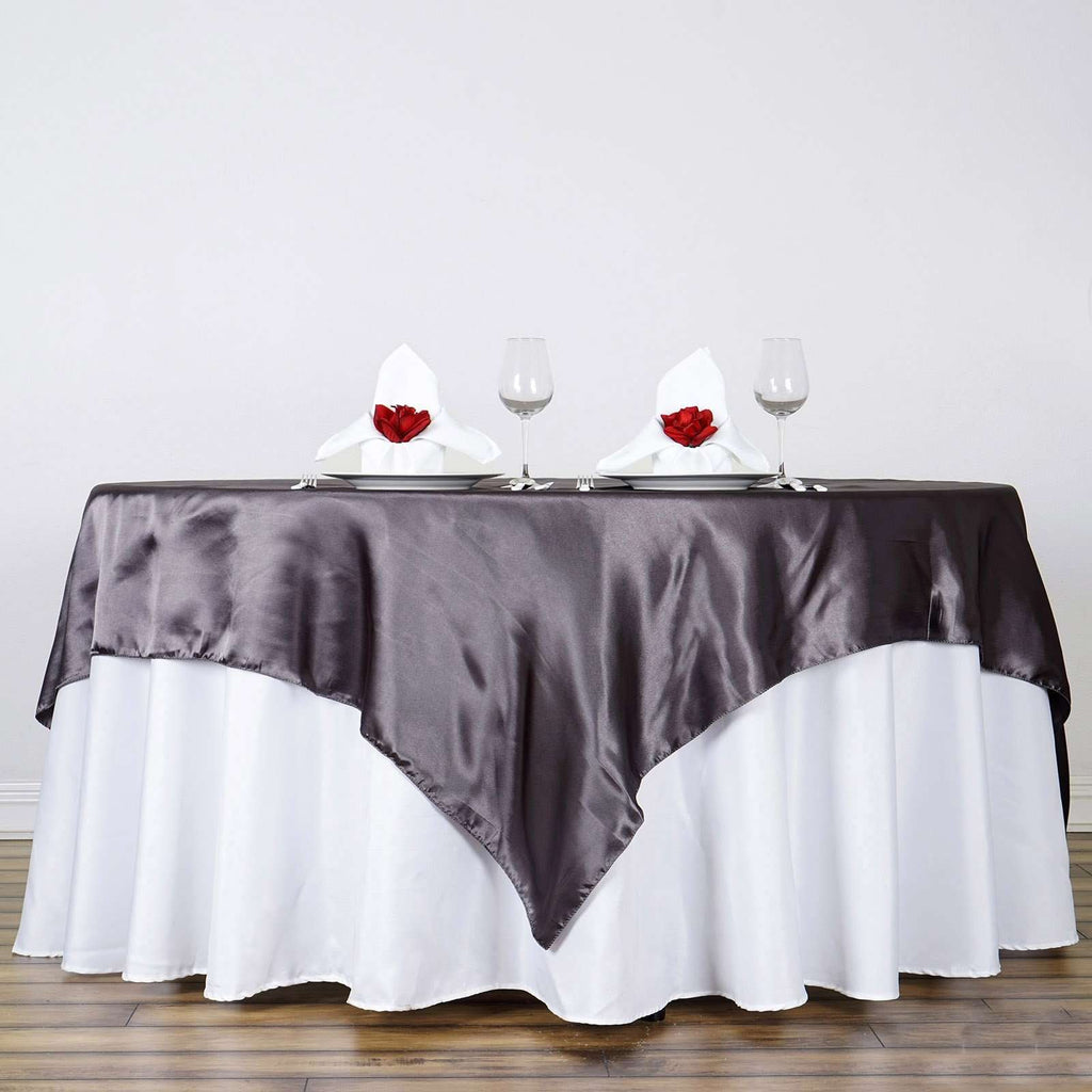 "90"" Charcoal Gray Seamless Satin Square Tablecloth Overlay"