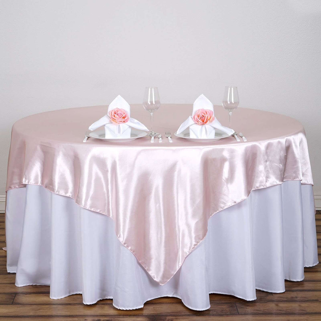"90""  Seamless Satin Square Tablecloth Overlay- Rose Gold 