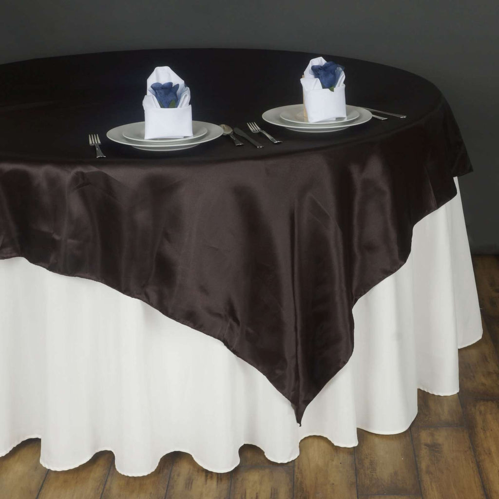 "90"" SATIN Square Overlay For Wedding Catering Party Table Decorations - CHOCOLATE"