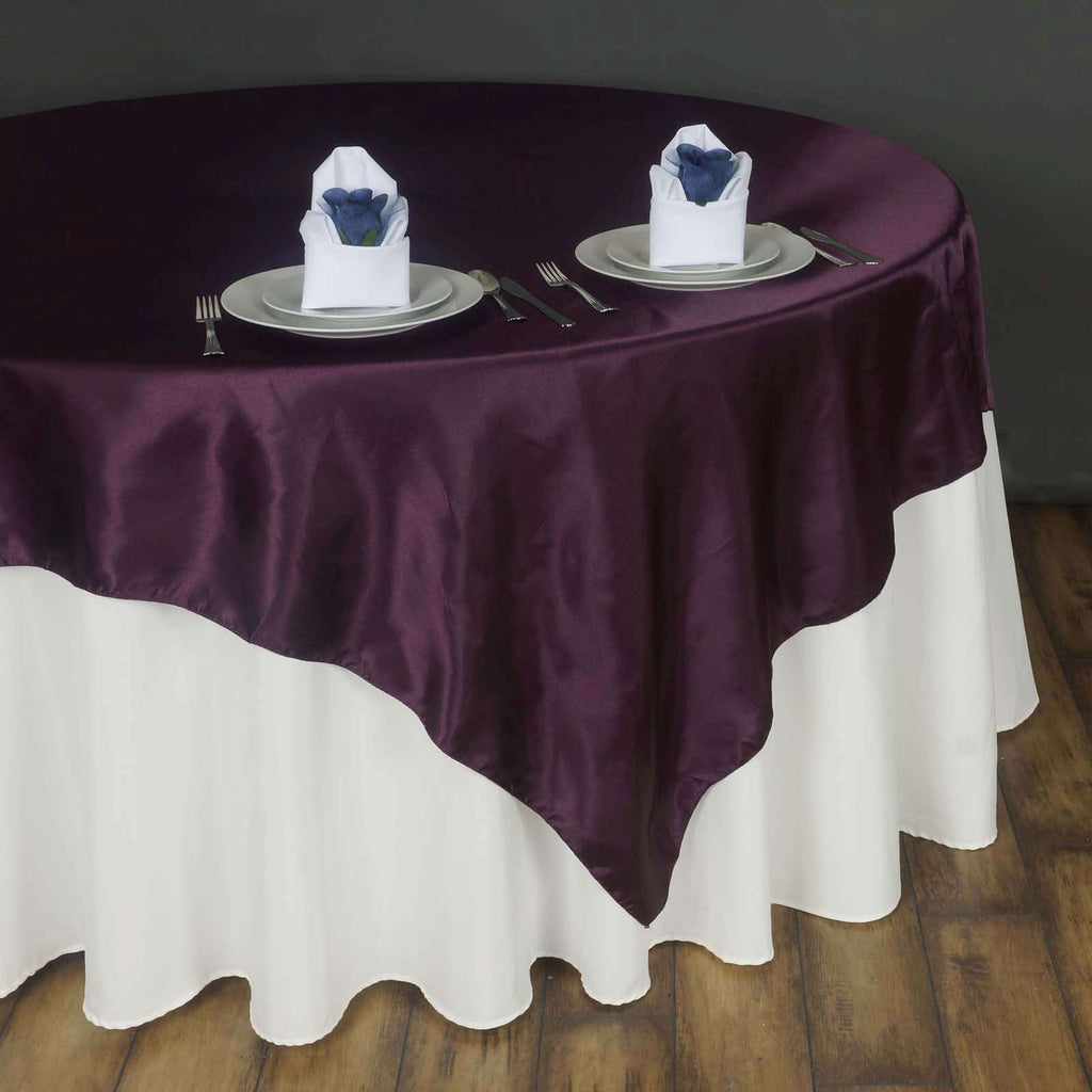"90"" SATIN Square Overlay For Wedding Catering Party Table Decorations - EGGPLANT"