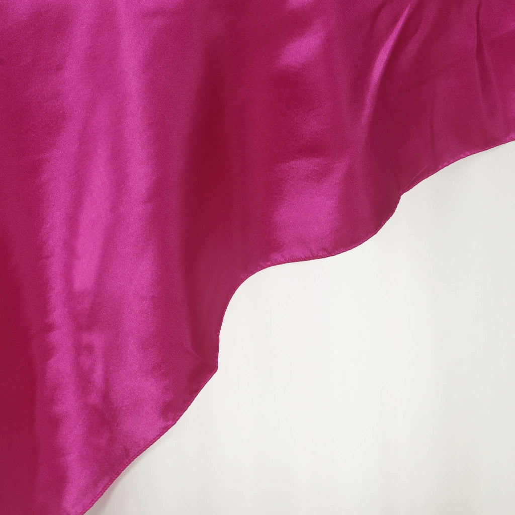 "90"" SATIN Square Overlay For Wedding Catering Party Table Decorations - FUSHIA"