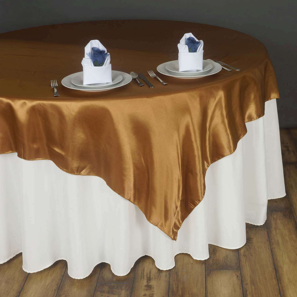 "90"" SATIN Square Overlay For Wedding Catering Party Table Decorations - GOLD"