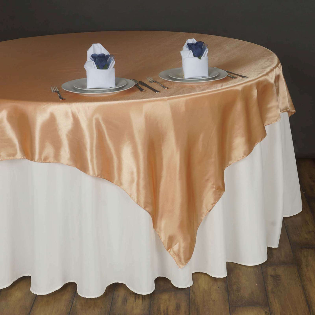 "90"" SATIN Square Overlay For Wedding Catering Party Table Decorations - PEACH"
