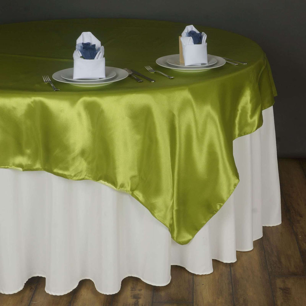 "90"" SATIN Square Overlay For Wedding Catering Party Table Decorations - SAGE GREEN"
