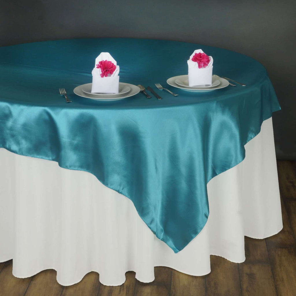 "90"" SATIN Square Overlay For Wedding Catering Party Table Decorations - TURQUOISE"